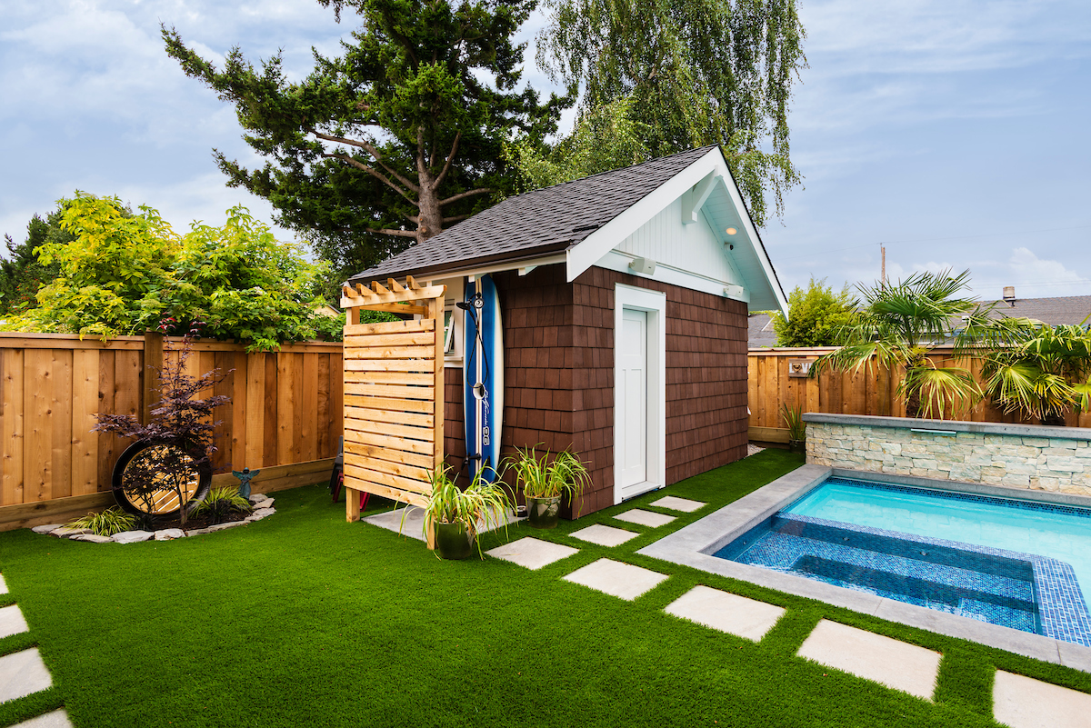 outdoor shed and pool yard by kemp construction