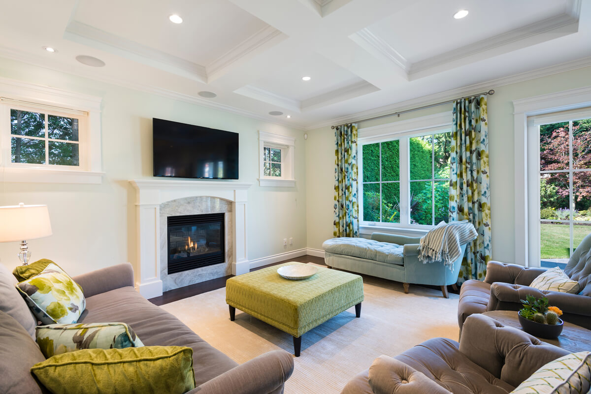 beautiful custom home living room high performance