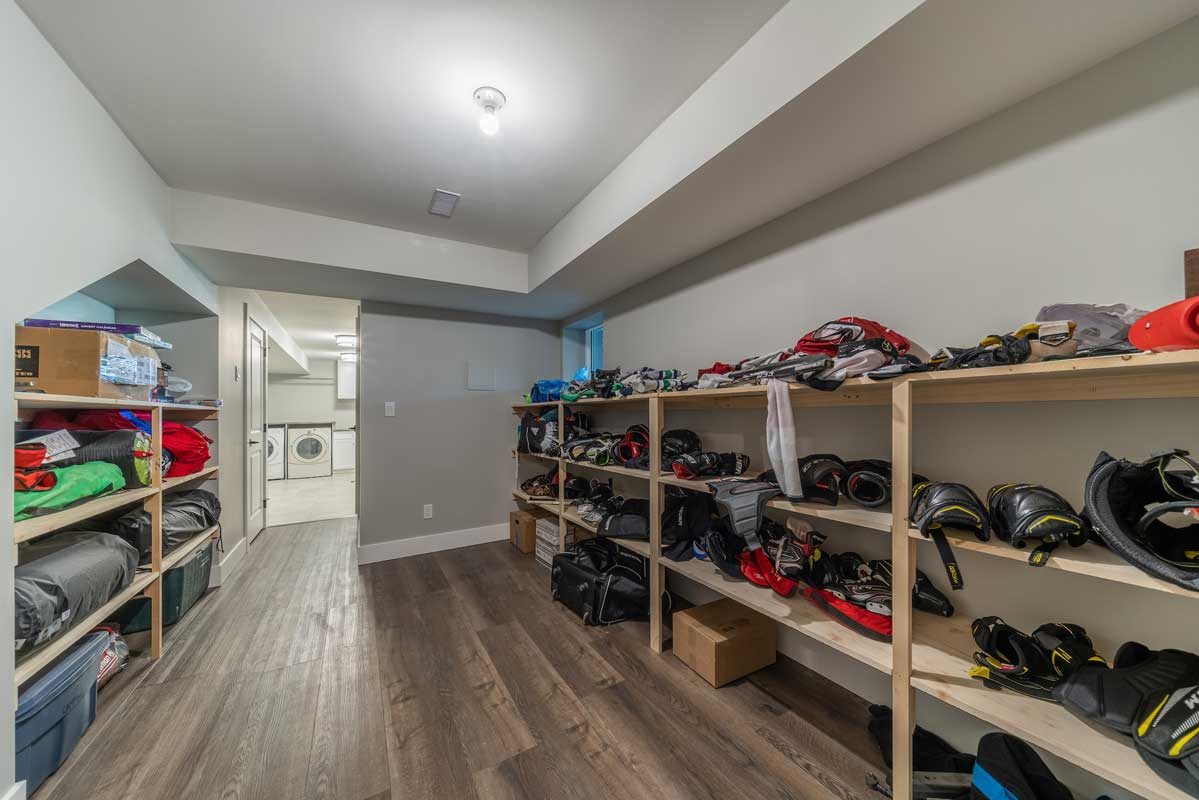 renovated basement storage sports equipment laundry