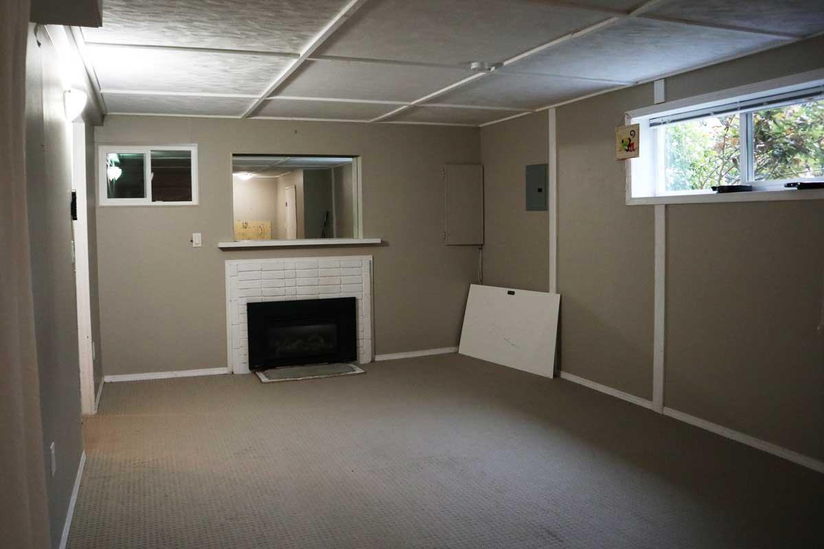 before renovation basement fireplace